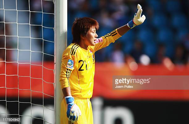 Ayumi Kaihori of Japan gestures during the FIFA Women's World Cup 2011 Group B match between Japan and New Zealand at Rewirpower Stadium on June 27...