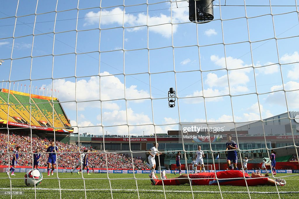 Ayumi Kaihori #18 of Japan reacts after Fara Williams #4 of England scored a penalty kick goal against her during the FIFA Women's World Cup Canada 2015 semi final match between England and Japan at Commonwealth Stadium on July 1, 2015 in Edmonton, Alberta, Canada.