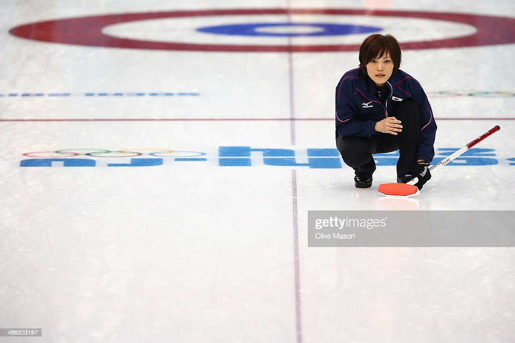 Ayumi Ogasawara of Japan in action during a training session during day 3 of the Sochi 2014 Winter Olympics at Ice Cube Curling Center on February 10, 2014 in Sochi, Russia.