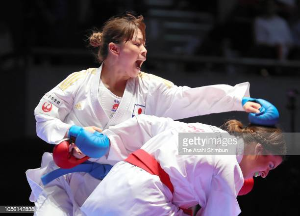 Ayumi Uekusa of Japan and Nancy Garcia of France compete in the Women's Kumite 68kg final during the Karate1 Premier League Tokyo at Tokyo Budoan on...