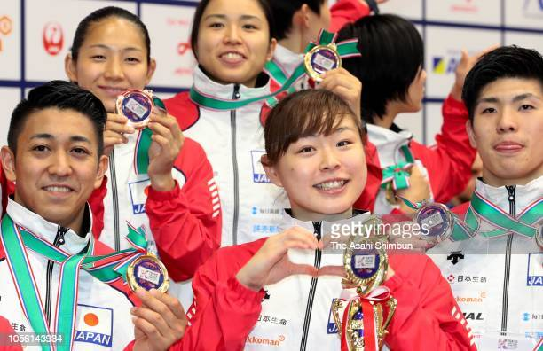 Ayumi Uekusa of Japan poses for photographs during the Karate1 Premier League Tokyo at Tokyo Budoan on October 14 2018 in Tokyo Japan