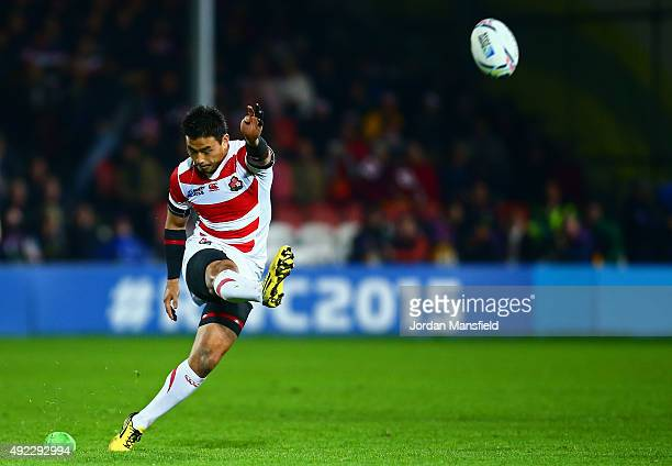 Ayumu Goromaru of Japan kicks a penalty during the 2015 Rugby World Cup Pool B match between USA and Japan at Kingsholm Stadium on October 11 2015 in...