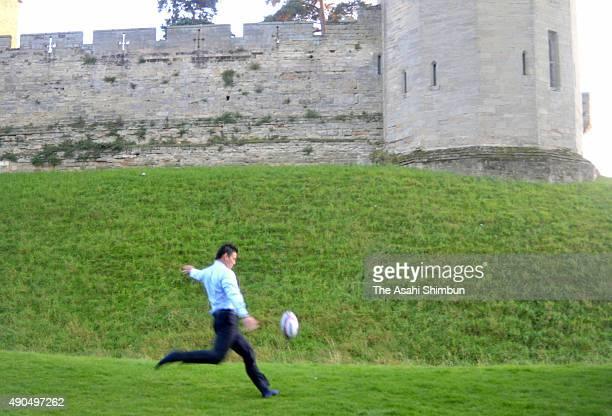 Ayumu Goromaru of Japan kicks the ball during his visit to the Warwick Castle on September 25 2015 in Warwick England