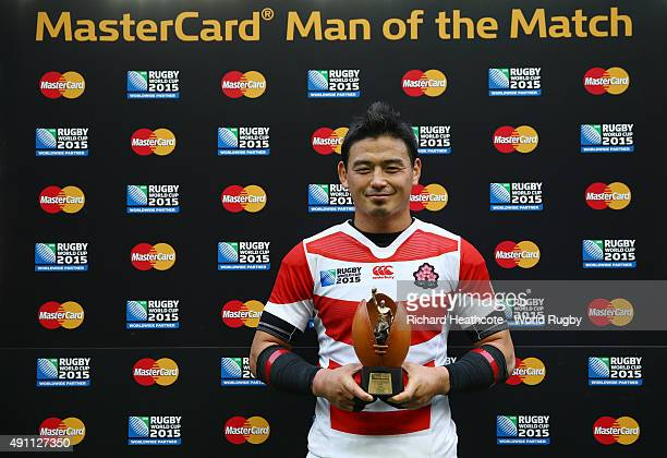 Ayumu Goromaru of Japan poses with his man of the match award after the 2015 Rugby World Cup Pool B match between Samoa and Japan at Stadium mk on...