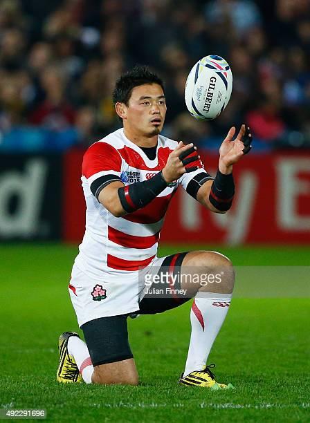 Ayumu Goromaru of Japan prepares to kick during the 2015 Rugby World Cup Pool B match between USA and Japan at Kingsholm Stadium on October 11 2015...