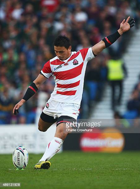Ayumu Goromaru of Japan takes a penalty during the 2015 Rugby World Cup Pool B match between South Africa and Japan at the Brighton Community Stadium...