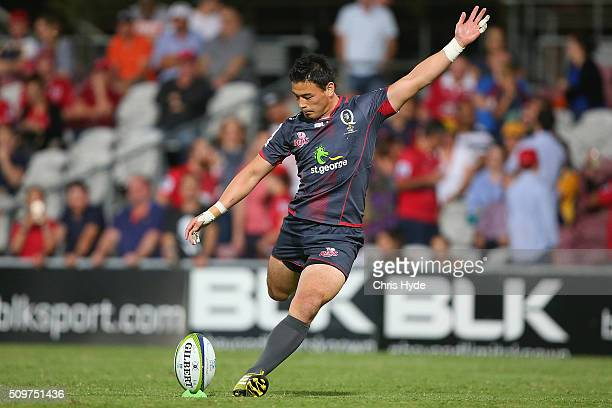Ayumu Goromaru of the Reds kicks a goal during the Super Rugby PreSeason match between the Reds and the Brumbies at Ballymore Stadium on February 12...