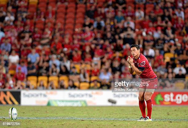 Ayumu Goromaru of the Reds lines up a kick for goal during the round seven Super Rugby match between the Reds and the Highlanders at Suncorp Stadium...