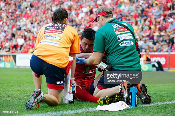 Ayumu Goromaru of the reds suffers an injury during the round 13 Super Rugby match between the Reds and the Sunwolves at Suncorp Stadium on May 21...