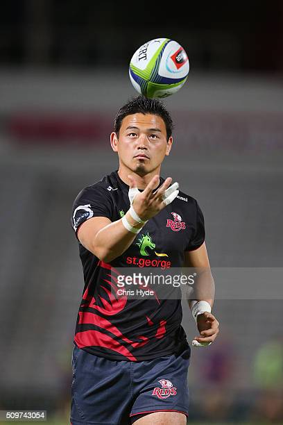Ayumu Goromaru of the Reds warms up ahead of the Super Rugby PreSeason match between the Reds and the Brumbies at Ballymore Stadium on February 12...