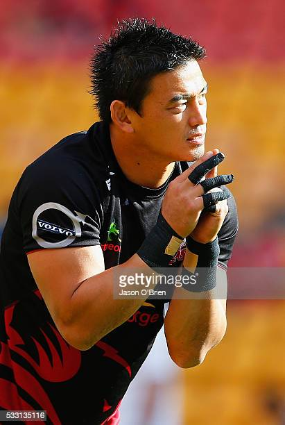 Ayumu Goromaru of the reds warms up during the round 13 Super Rugby match between the Reds and the Sunwolves at Suncorp Stadium on May 21 2016 in...