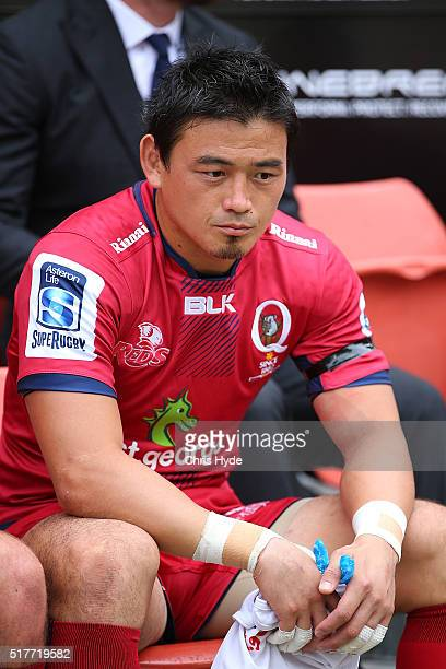 Ayumu Goromaru of the Reds watches from the sideline during the round five Super Rugby match between the Reds and the Waratahs at Suncorp Stadium on...