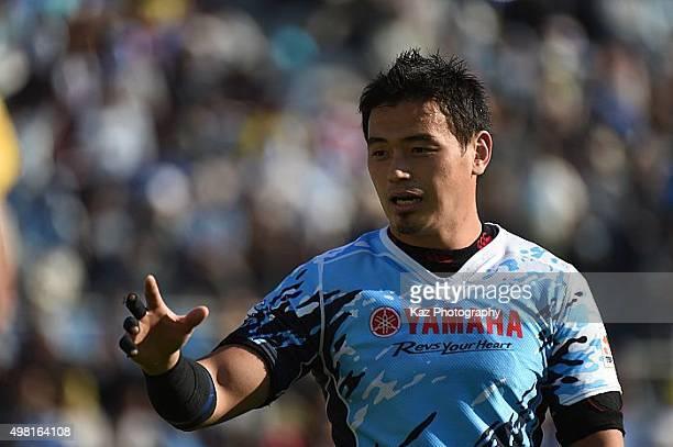 Ayumu Goromaru of Yamaha Motors demands the ball during the rugby match between Yamaha Motors and Toyota Industries Shuttles at Yamaha Stadium on...