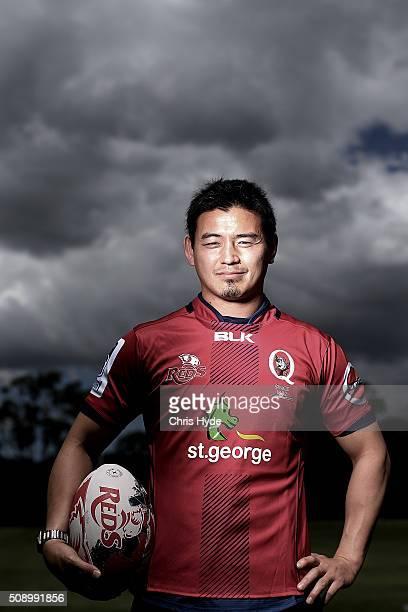 Ayumu Goromaru poses during a Reds Super Rugby media opportunity at Ballymore Stadium on February 8 2016 in Brisbane Australia
