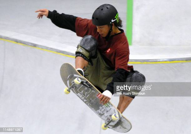 Ayumu Hirano competes in the Men's Park final during the 3rd Skateboarding Japan Championships at Murakami City Skate Park on May 12, 2019 in...