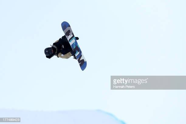 Ayumu Hirano of Japan competes during FIS Snowboard Halfpipe World Cup Finals on day 10 of the Winter Games NZ at Cardrona Alpine Resort on August 24...