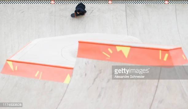 Ayumu Hirano of Japan competes during the Quarter Finals during the World Skate Park Skateboarding World Championship at Parque Candido Portinari on...