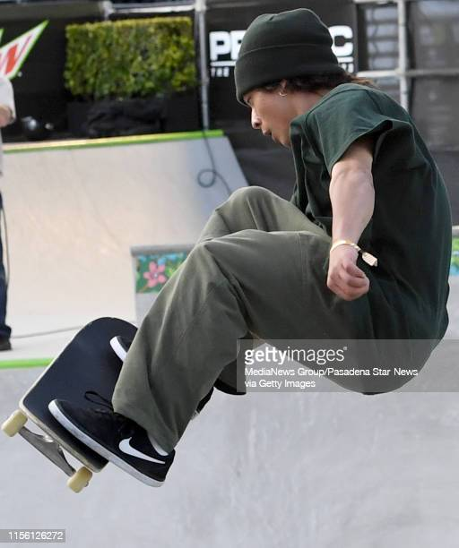 Ayumu Hirano of Japan competes in the Men's Park Skateboard Course during the Dew Tour at the Long Beach Convention Center on Friday June 14 2019 in...