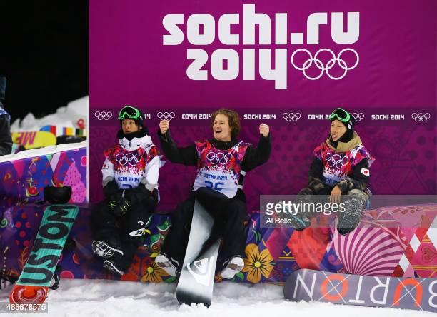 Ayumu Hirano of Japan, Iouri Podladtchikov of Switzerland and Taku Hiraoka of Japan celebrate after competing in the Snowboard Men's Halfpipe Finals...
