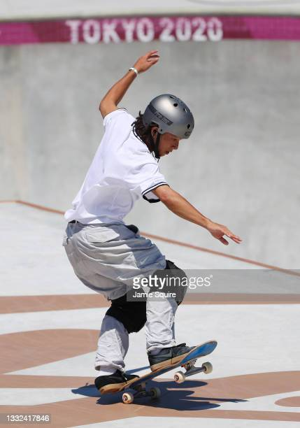 Ayumu Hirano of Team Japan competes during the Men's Skateboarding Park Preliminary Heat 4 on day thirteen of the Tokyo 2020 Olympic Games at Ariake...