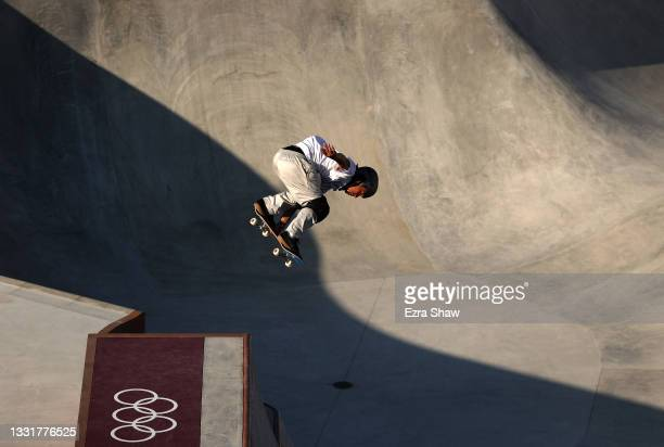 Ayumu Hirano of Team Japan in action during a training session for the skateboarding park on day nine of the Tokyo 2020 Olympic Games on August 01,...