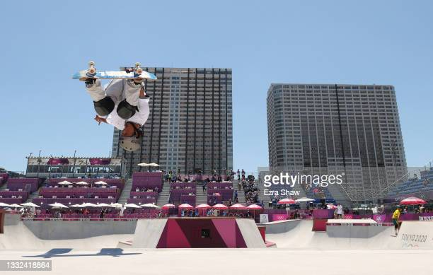 Ayumu Hirano of Team Japan performs a backflip during the Men's Skateboarding Park Preliminary Heat 4 on day thirteen of the Tokyo 2020 Olympic Games...