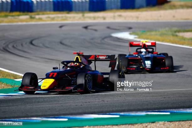 Ayumu Iwasa of Japan and Hitech Grand Prix drives during day two of Formula 3 Testing at Circuito de Jerez on May 13, 2021 in Jerez de la Frontera,...