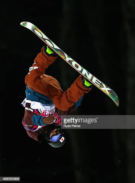 Ayumu Nedefuji of Japan trains in the Snowboard Halfpipe official training during day three of the Sochi 2014 Winter Olympics at Rosa Khutor Extreme...