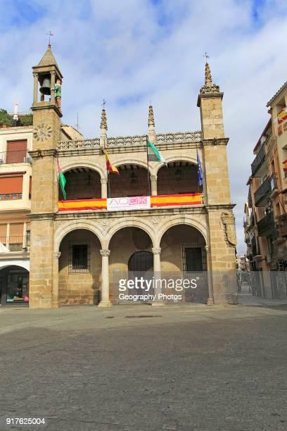 Ayuntamiento town hall Abuelo Mayorga figure Plasencia Caceres province Extremadura Spain