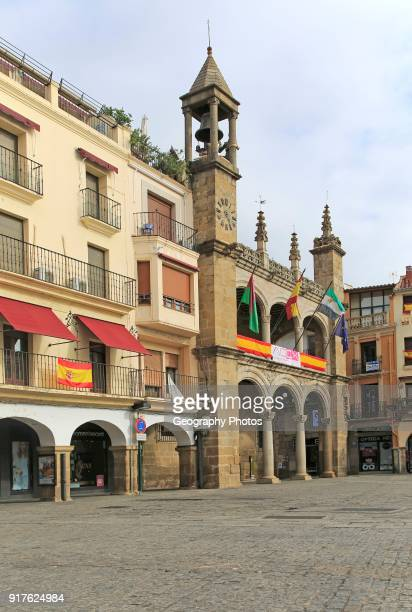 Ayuntamiento town hall historic buildings Plaza Mayor Plasencia Caceres province Extremadura Spain