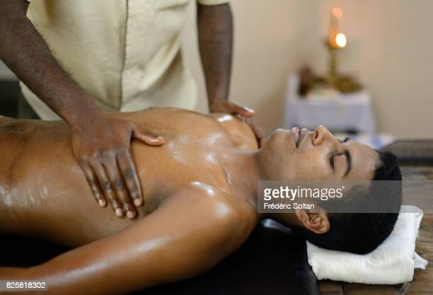 Ayurvedic retreat in Kerala Massage for a patient at the Sahyadri Ayurveda Hospital in Peermade on January 15 2017 in India