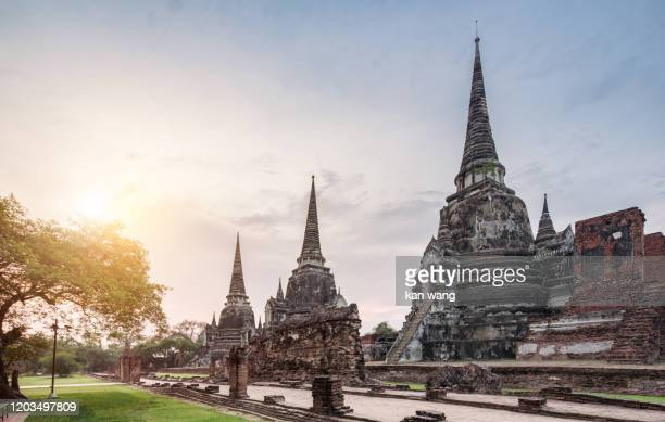 ayutthaya historical park, unesco world heritage site , wat phra si sanphet - stock photo - unesco stockfoto's en -beelden