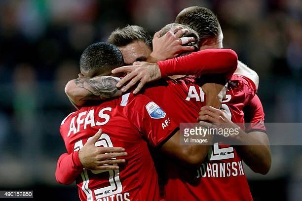 Az celebrate 1-0 Dabney dos Santos of AZ Alkmaar, Muamer Tankovic of AZ Alkmaar, Markus Henriksen of AZ Alkmaar, Mattias Johansson of AZ Alkmaar...