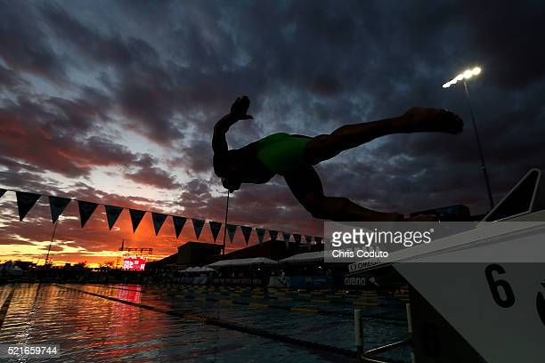 Azad AlBarazi launches off the blocks in the heat D final of the men's 100 meter freestyle at the Skyline Aquatic Center on April 16 2016 in Mesa...