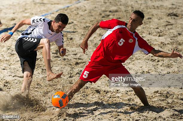 Azad Mahmood of Afghanistan fights for the ball with Mohamad Choker of Lebanon during the Beach Soccer Men's Team Bronze Medal Match between Lebanon...