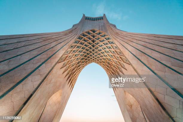 azadi tower, teheran, iran, middle east - boog architectonisch element stockfoto's en -beelden