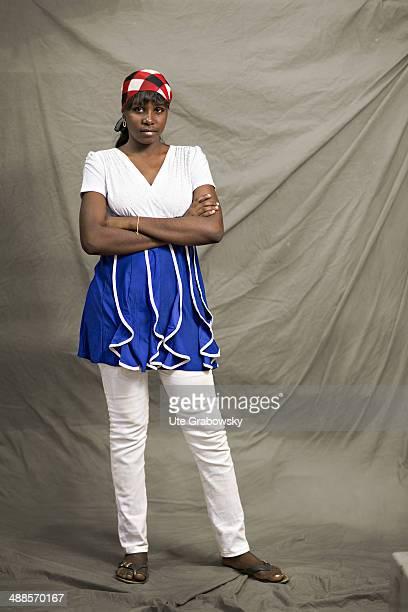 Azahara Ghaliou 18 years old from Agadez in Niger poses during SAFEM Salon international de l'artisanat pour la femme trade fair on December 07 2013...