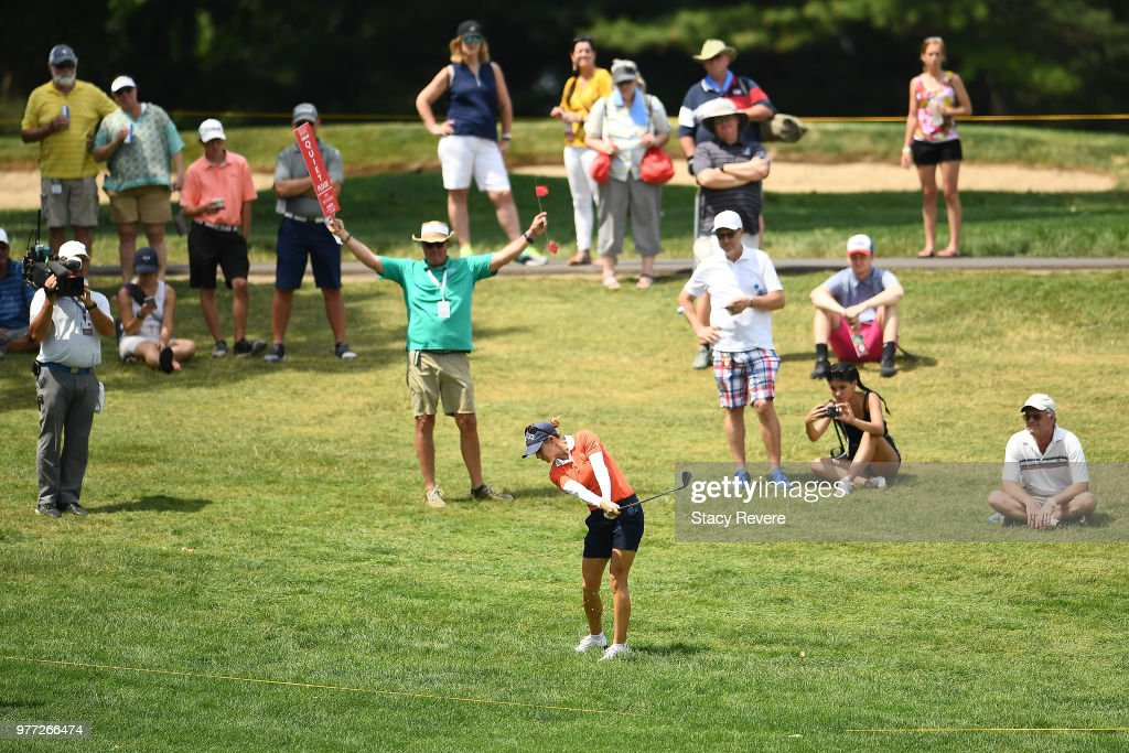 Azahara Munoz of Spain hits her second shot on the 15th hole during the final round of the Meijer LPGA Classic for Simply Give at Blythefield Country Club on June 17, 2018 in Grand Rapids, Michigan.