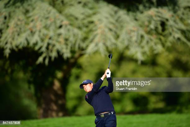 Azahara Munoz of Spain plays a shot during the weather delayed first round of The Evina Championship at Evian Resort Golf Club on September 15 2017...