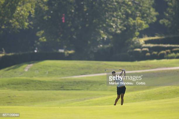 Azahara Munoz of Spain plays her approach shot on the 3rd hole during the First round of the Evian Masters Golf Tournament at the Evian Masters Golf...