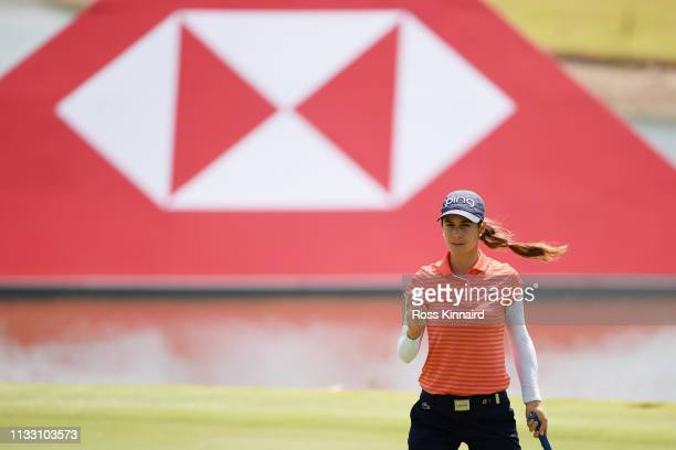 Azahara Munoz of Spain reacts to her birdie on the fifth green during the third round of the HSBC Women's World Championship at Sentosa Golf Club on...