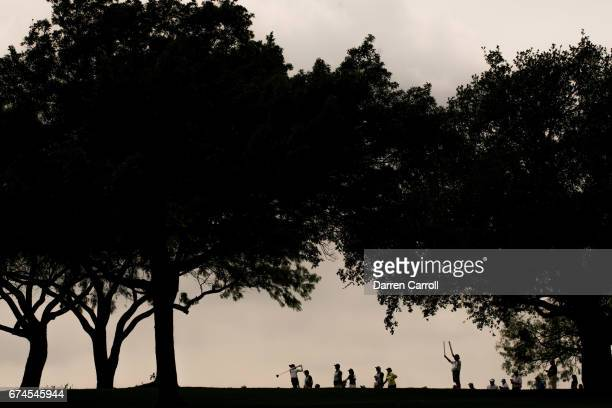 Azahara Munoz of Spain tees off at the first hole during the second round of the Volunteers of America North Texas Shootout at Las Colinas Country...