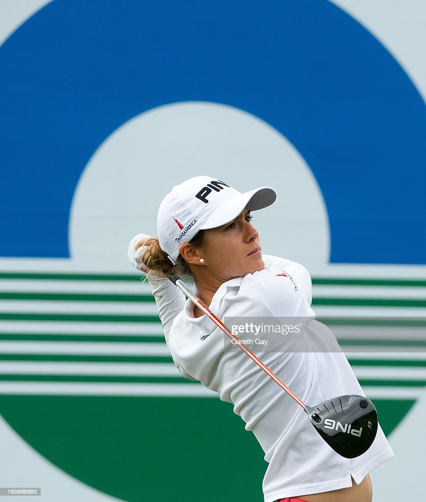 Azahara Munoz of Spain Tees off on the first hole, during day three of the Sunrise LPGA Taiwan Championship on October 26, 2013 in Taoyuan, Taiwan.