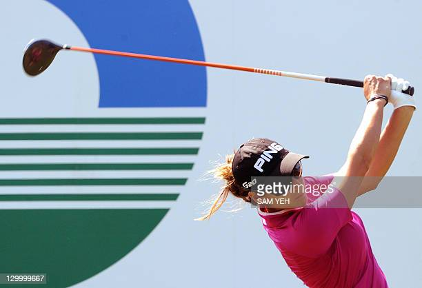 Azahara Munoz of Spain tees off on the first hole during the forth round of the Sunrise LPGA Taiwan Championship golf tournament in Yangmei northern...