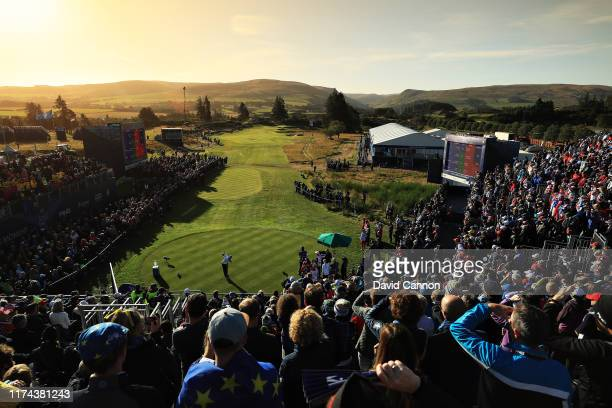 Azahara Munoz of Team Europe plays her shot from the first tee during Day 1 of The Solheim Cup at Gleneagles on September 13 2019 in Auchterarder...