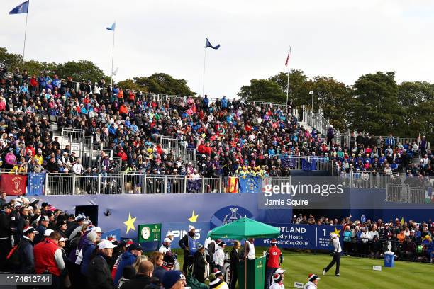 Azahara Munoz of Team Europe plays her shot from the first tee during Day 2 of the Solheim Cup at Gleneagles on September 14, 2019 in Auchterarder,...