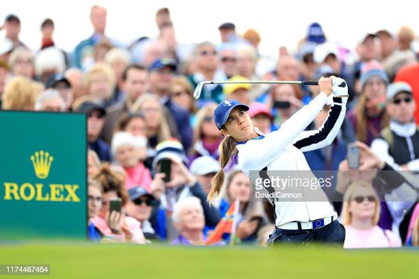 Azahara Munoz of Team Europe plays her shot from the tenth tee during Day 1 of The Solheim Cup at Gleneagles on September 13, 2019 in Auchterarder,...