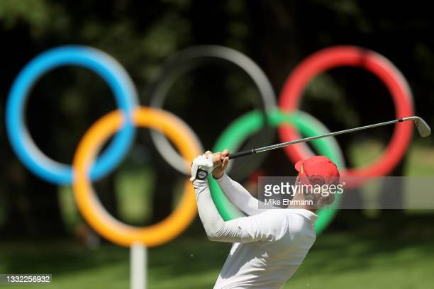 Azahara Munoz of Team Spain plays her shot from the 16th tee during the first round of the Women's Individual Stroke Play on day twelve of the Tokyo...