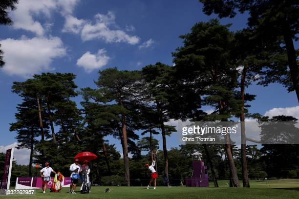 Azahara Munoz of Team Spain plays her shot from the 18th tee during the first round of the Women's Individual Stroke Play on day twelve of the Tokyo...