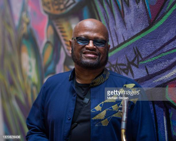 Azar Lawrence poses for a portrait at The Artists Project Giveback Day on May 28, 2021 in Los Angeles, California.